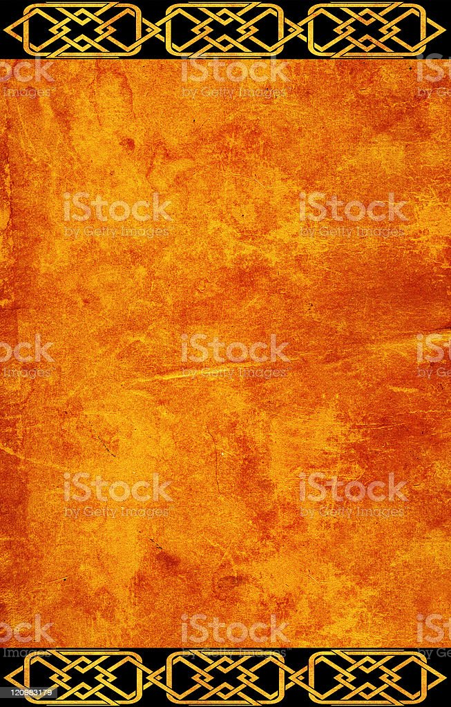 Grunge background with celtic patterns stock photo