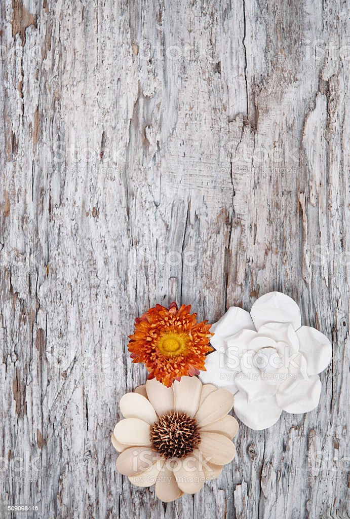 Grunge background with dry flowers on the old wood stock photo