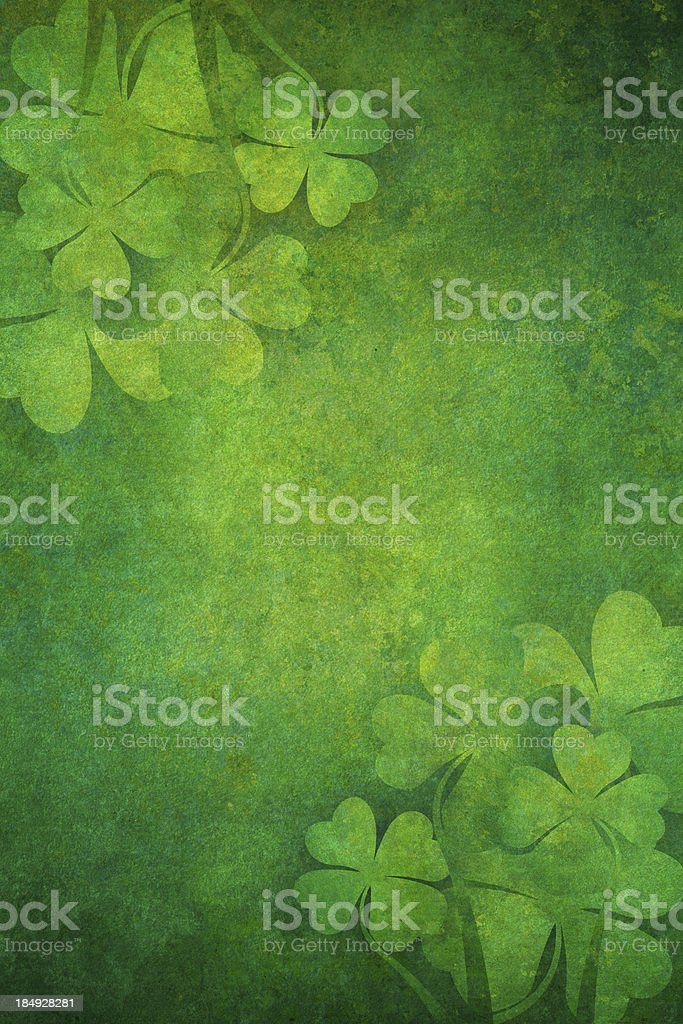 grunge background with four leaf clovers stock photo
