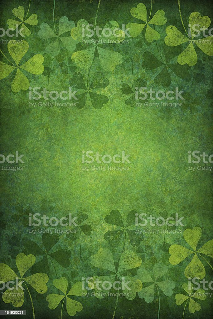 grunge background with four leaf clovers royalty-free stock photo
