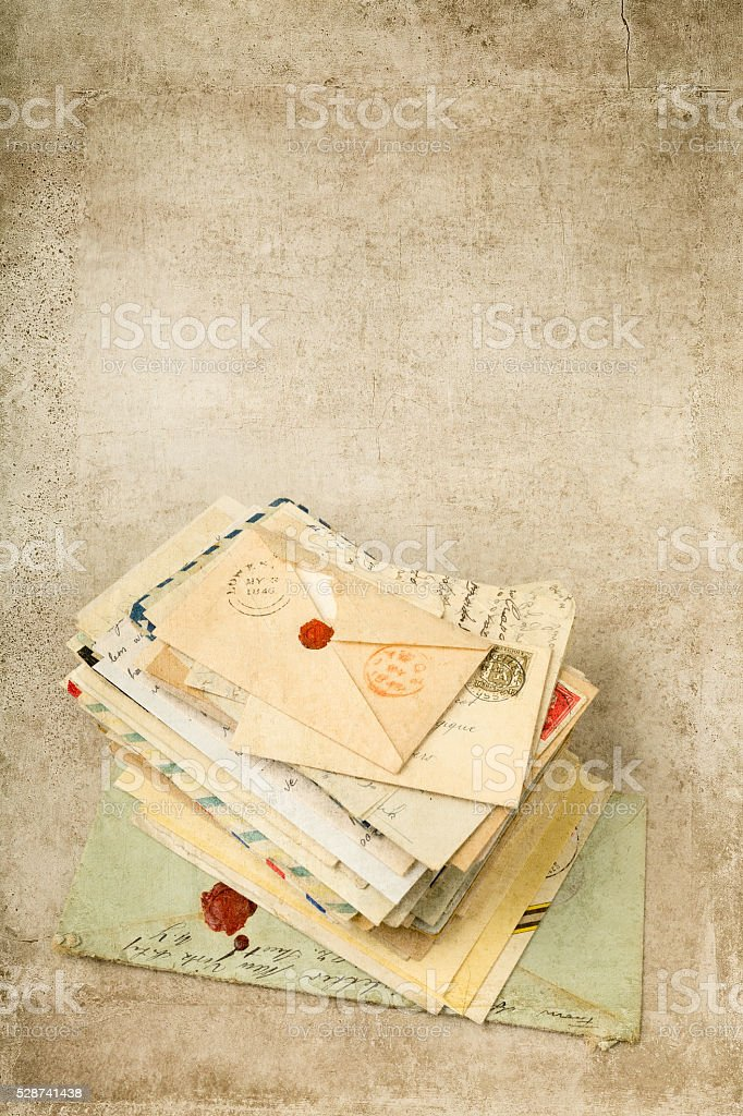 Grunge background with old letters stock photo