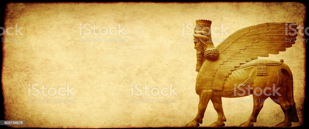 Grunge background with paper texture and lamassu stock photo