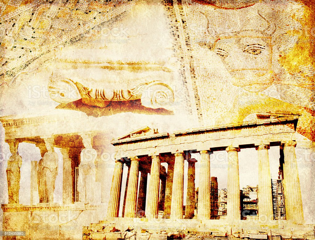 Grunge background with paper texture and landmarks of Greece stock photo