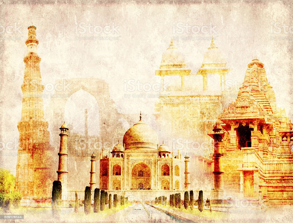 Grunge background with paper texture and landmarks of India stock photo