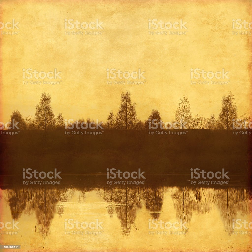 Grunge background with trees. stock photo