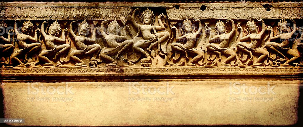 Grunge banner with carving, Preah Khan Temple, Angkor Wat, Cambo stock photo