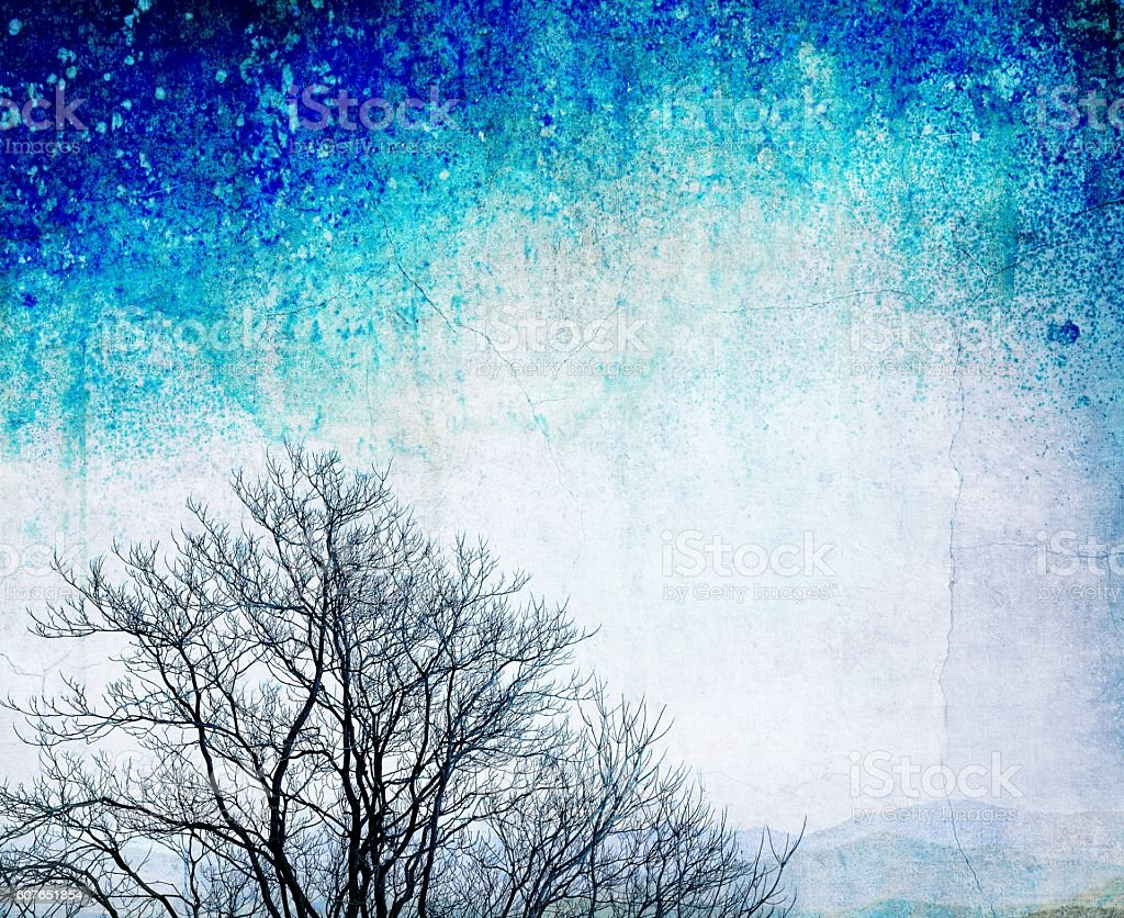 Grunge bare tree on textured blue background stock photo