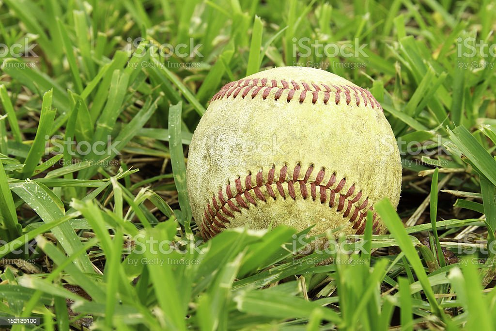 Grunge Baseball In Grass Close Up royalty-free stock photo