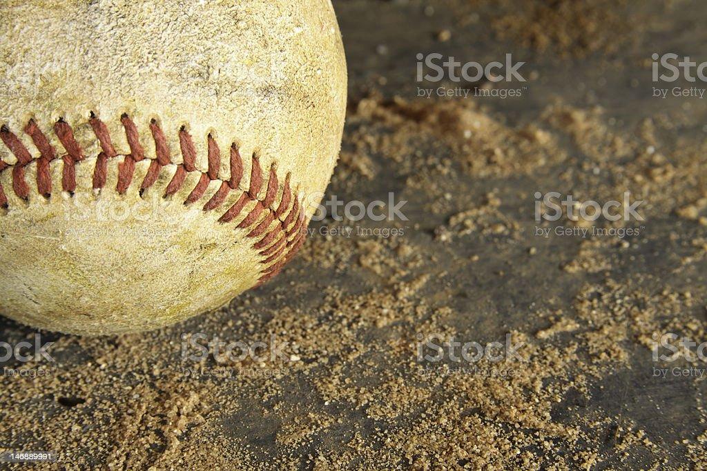 Grunge Baseball On Dirt And Wood Background royalty-free stock photo
