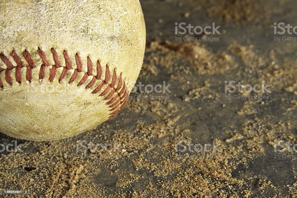 Grunge Baseball On Dirt And Wood Background stock photo