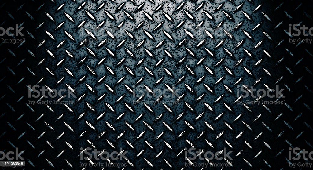 Grunge black diamond plated metal stock photo