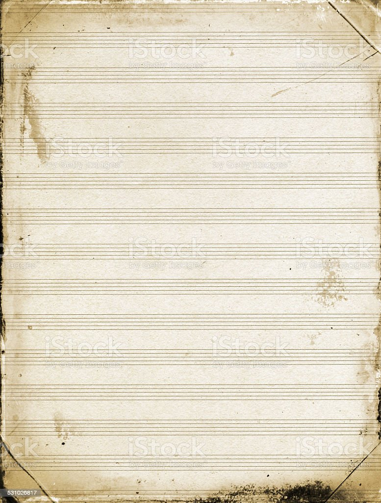 Grunge Blank Sheet Music Paper Background Textured stock photo