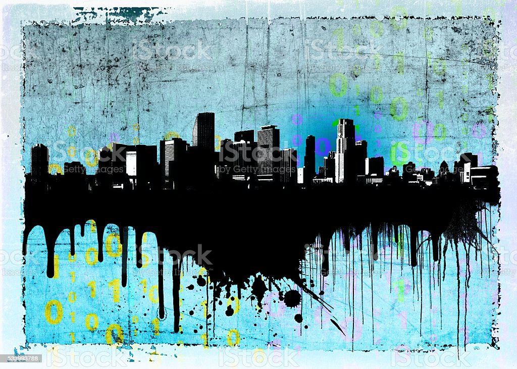 Grunge blue dripping city skyline stock photo