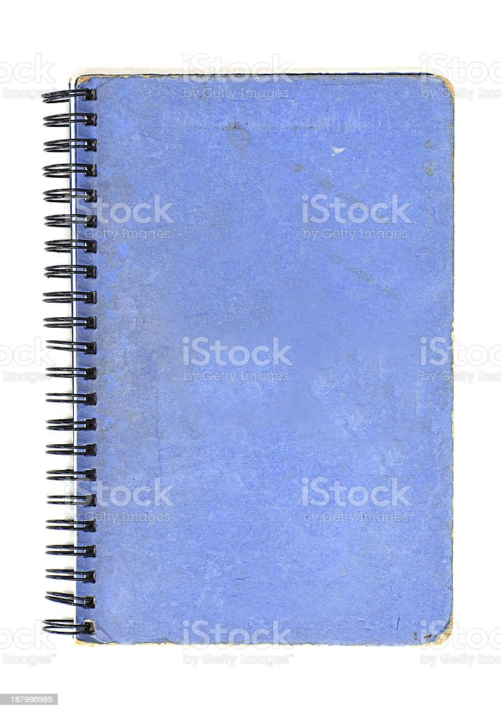 Grunge blue notebook isolated on white. royalty-free stock photo