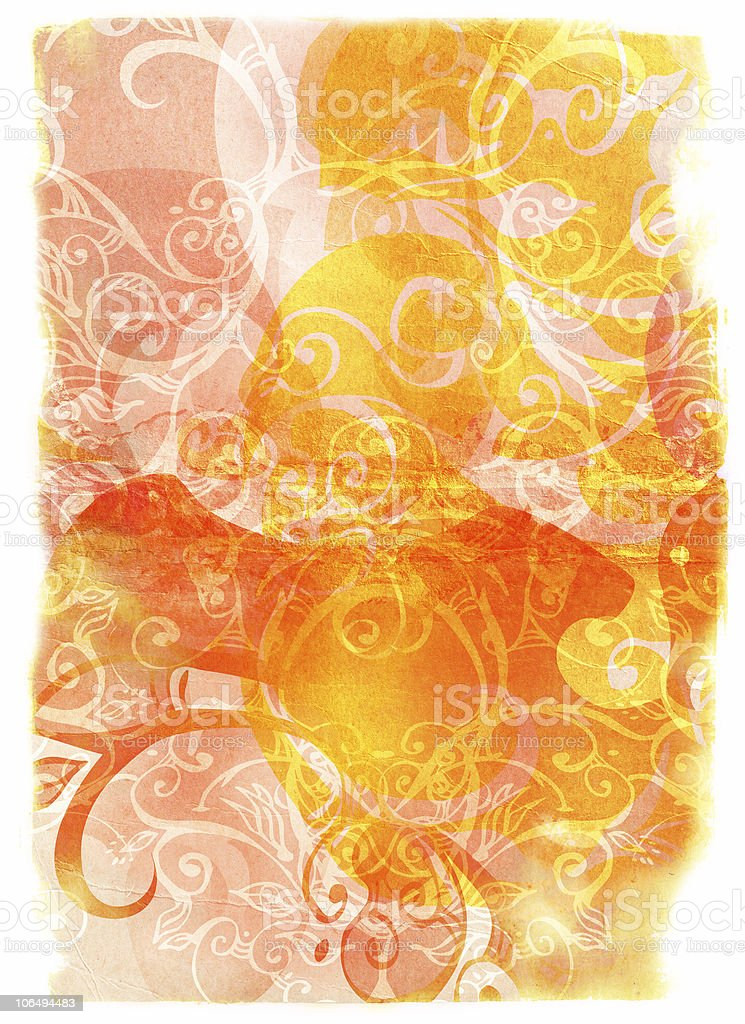 grunge book page with swirls and scrolls royalty-free stock photo