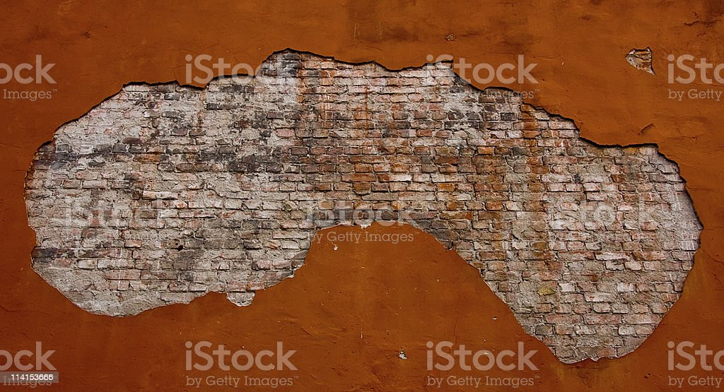 Grunge brick wall in the frame royalty-free stock photo
