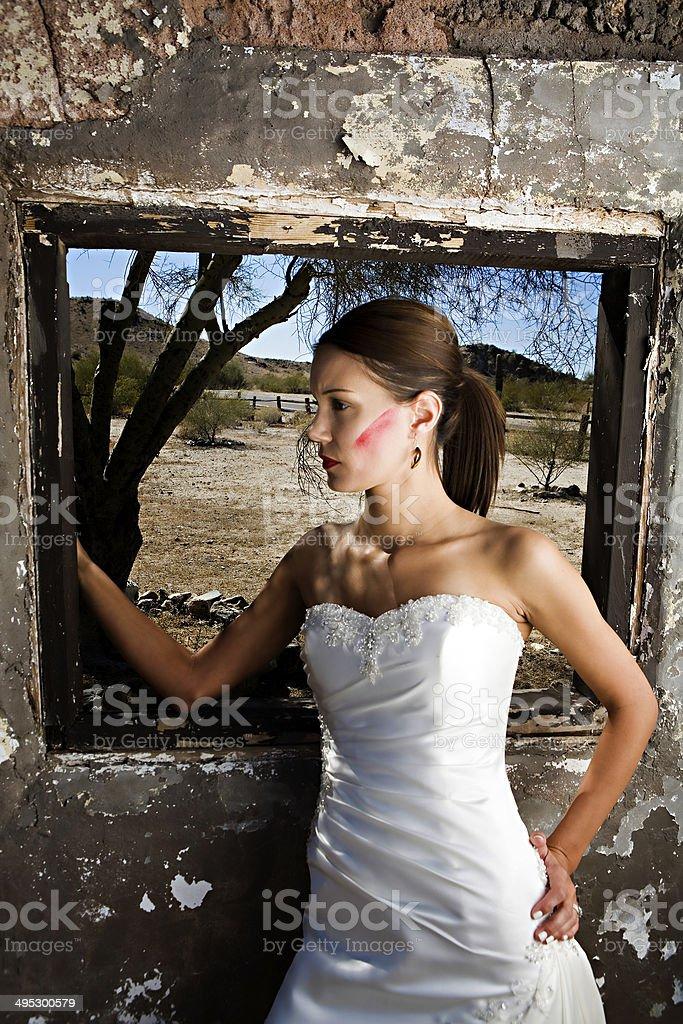 Grunge bridal scene stock photo