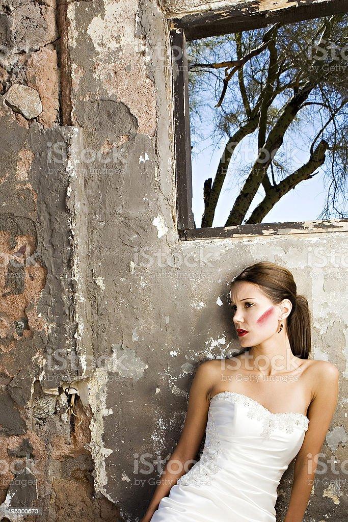 Grunge bride sitting stock photo