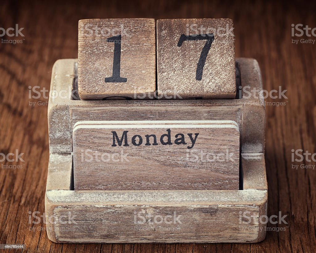 Grunge calendar showing Monday the seventieth stock photo