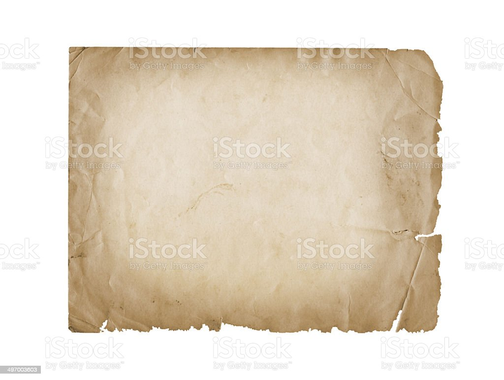 Grunge carved postcard on the white isolated background stock photo