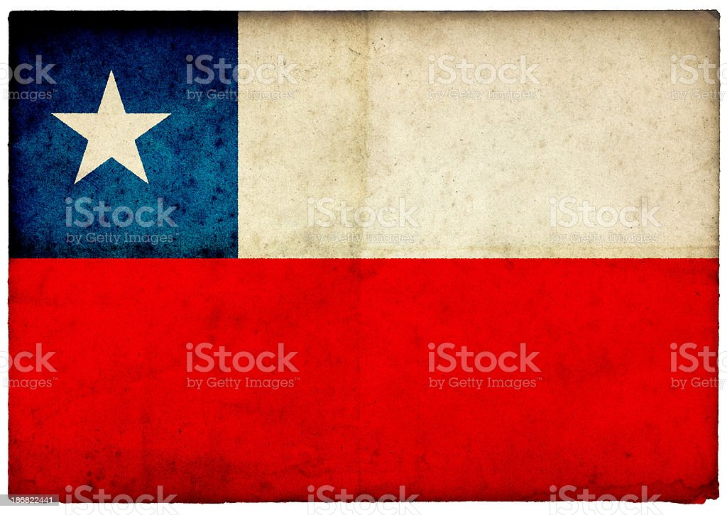 Grunge Chilean Flag on rough edged old postcard royalty-free stock photo