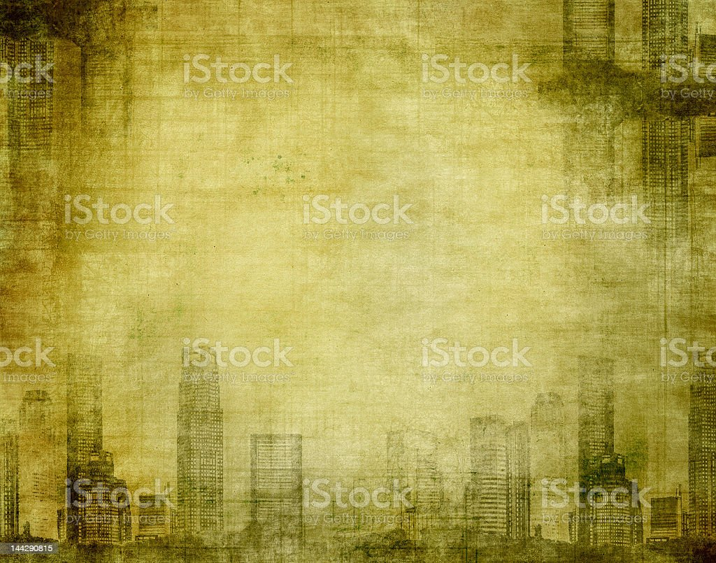 A grunge city sketch on aged paper, royalty-free stock photo