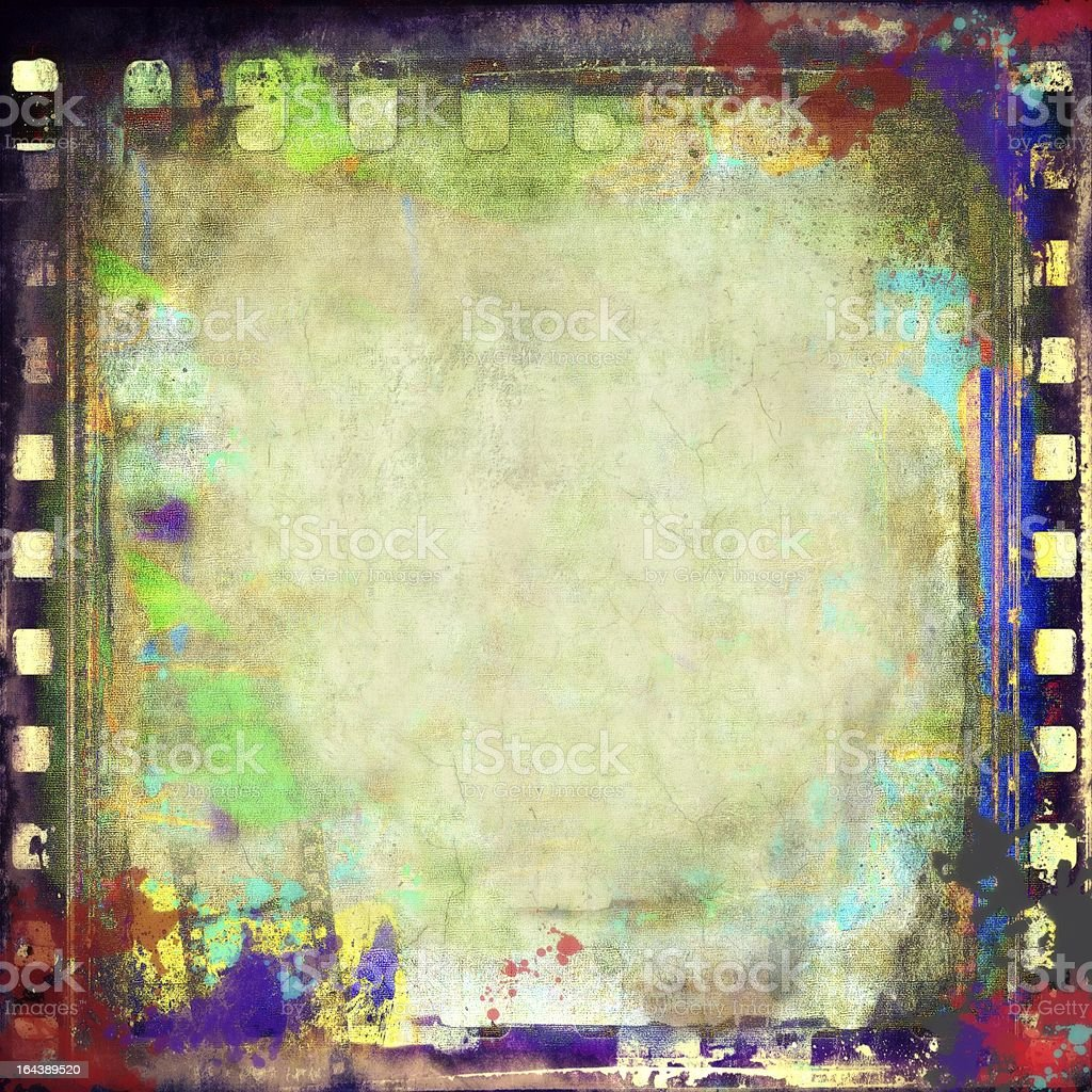 Grunge colorful film strip frame royalty-free stock photo