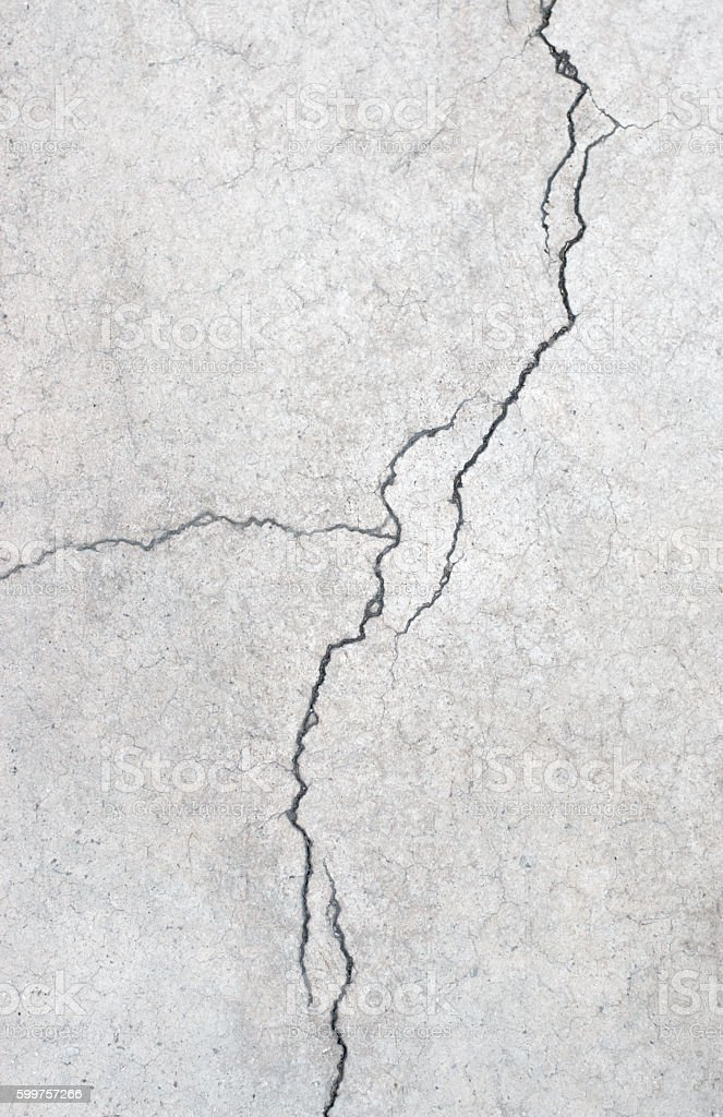 Grunge concrete cement wall with crack in building stock photo