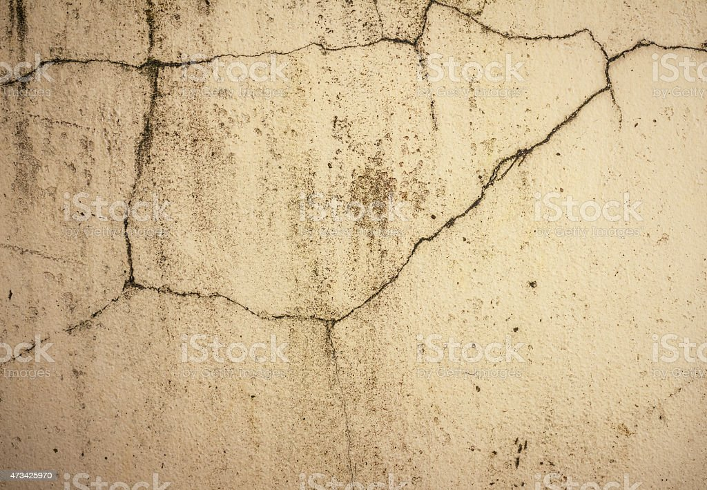 Grunge concrete cement wall with crack in industrial building stock photo