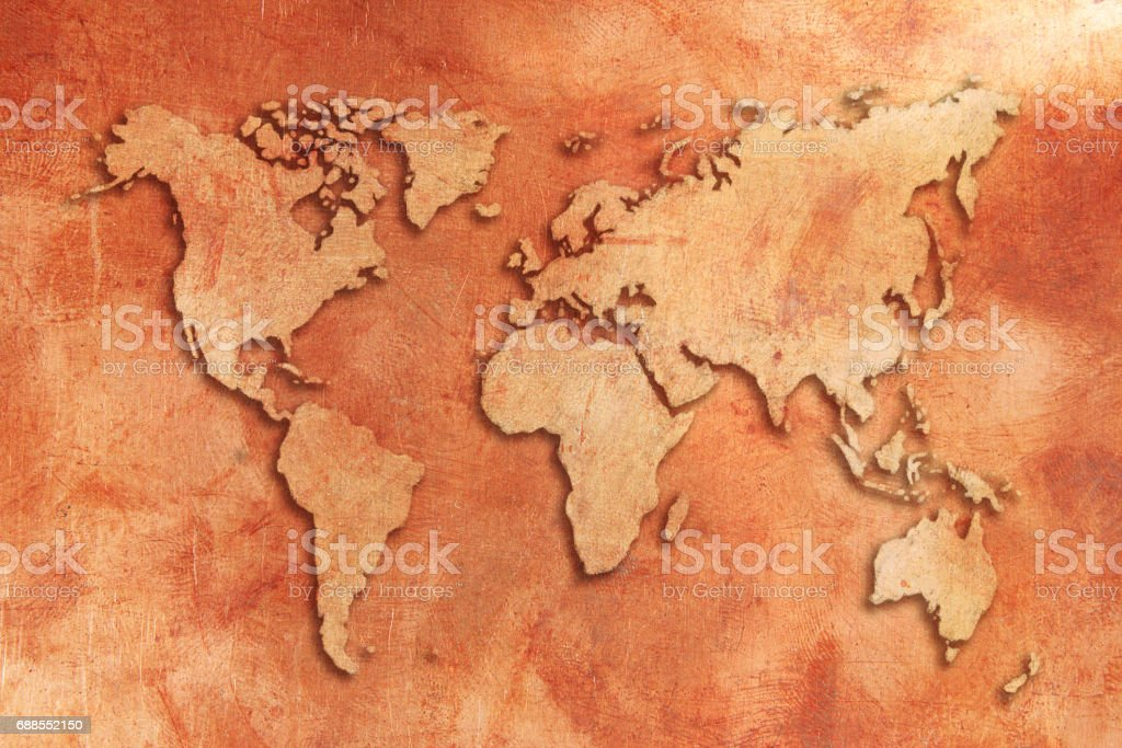 Grunge copper 3D World map stock photo
