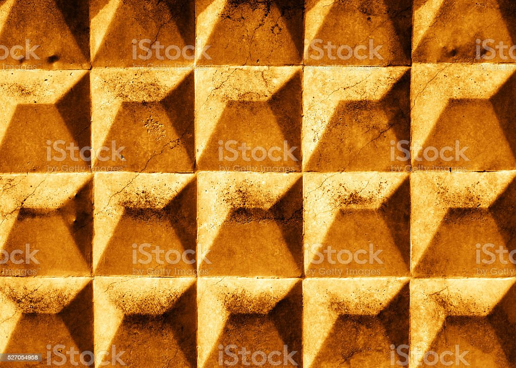 Grunge cracked gold  slab with rhombus texture. stock photo