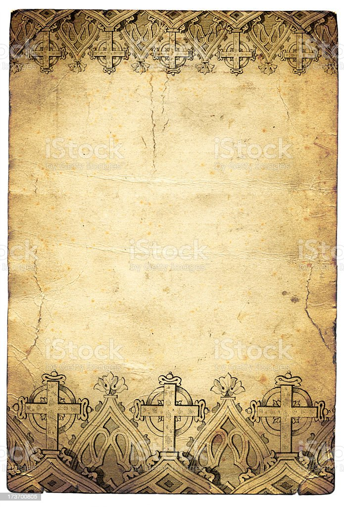 Grunge cross christian paper royalty-free stock photo