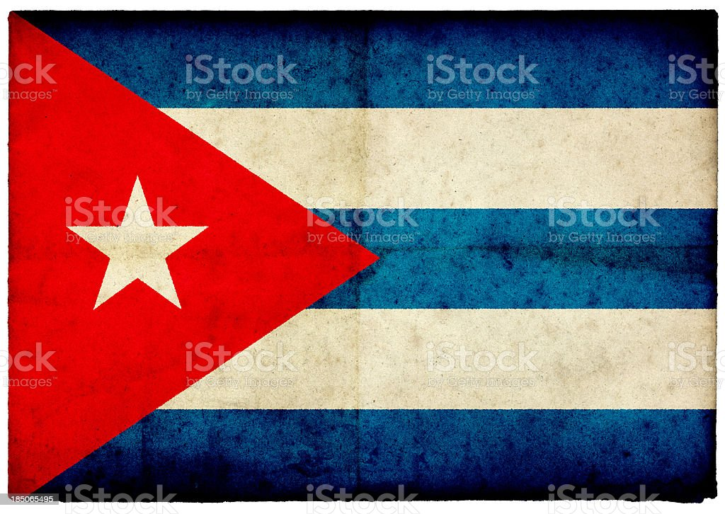 Grunge Cuban Flag on rough edged old postcard stock photo