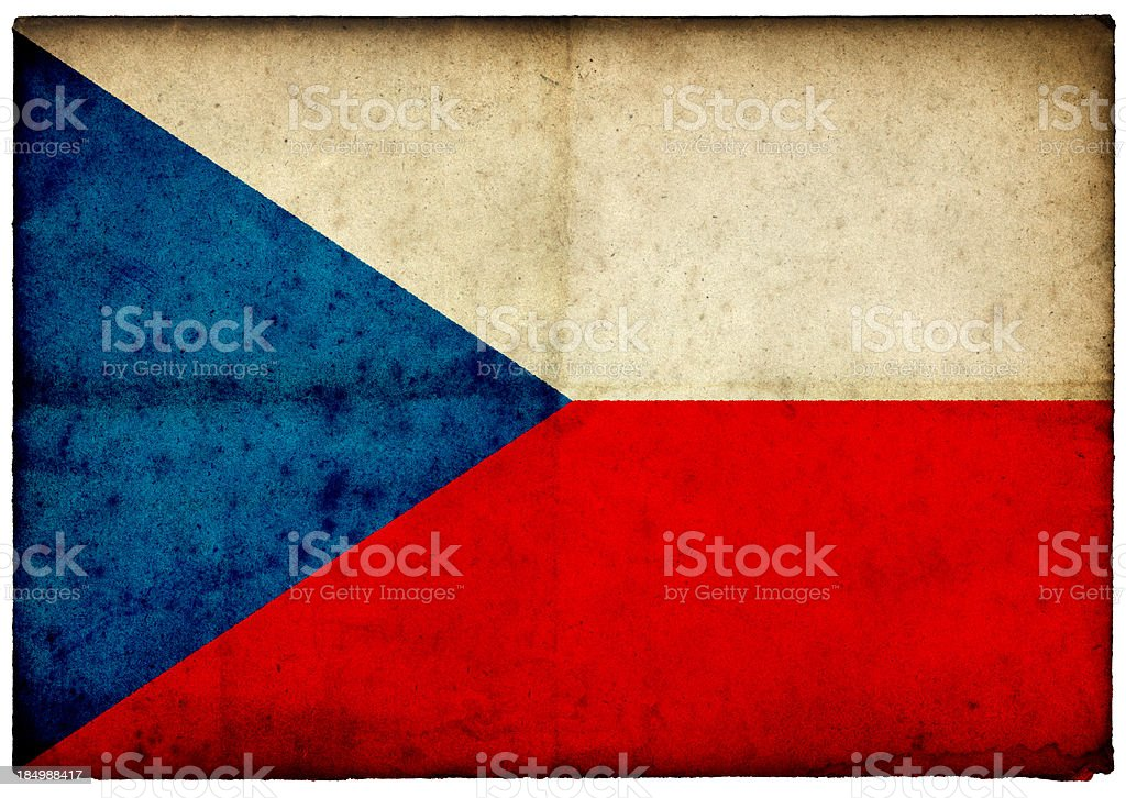 Grunge Czech Republic Flag on rough edged old postcard stock photo