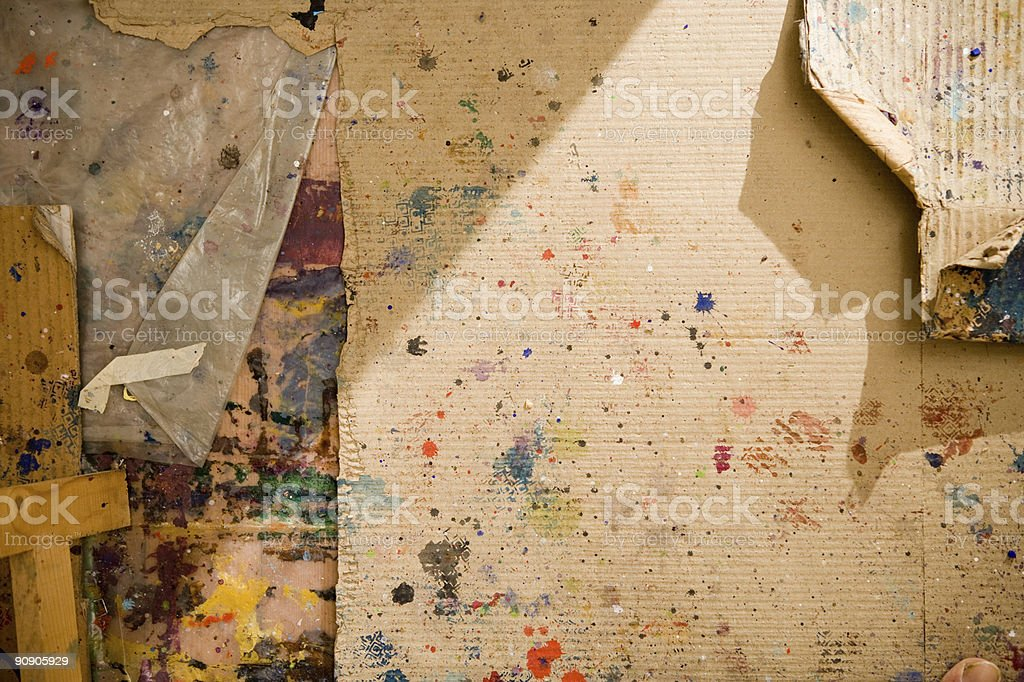 grunge damaged paintboard with miscellaneous fingerprints royalty-free stock photo