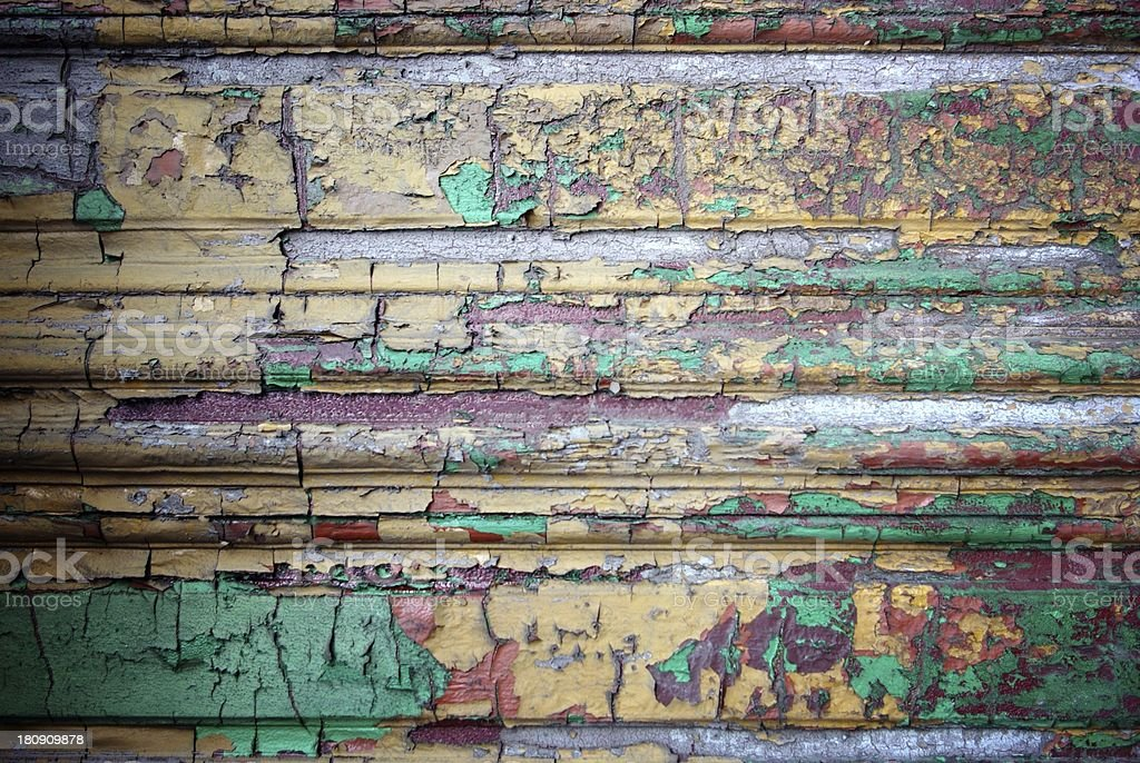 Grunge decorative wood texture with peeling paint royalty-free stock photo