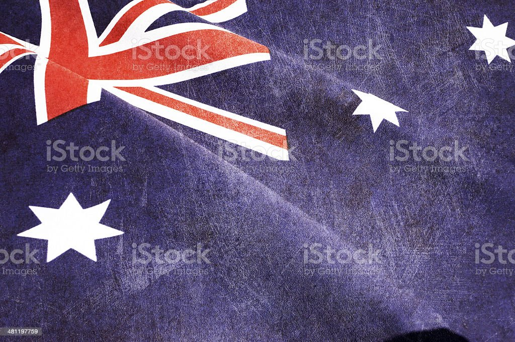 Grunge distressed aged old Australian flag stock photo