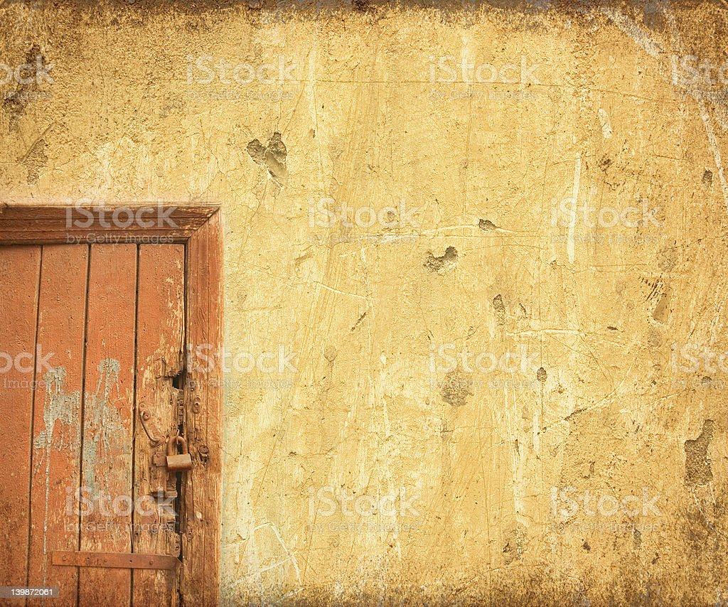grunge door background with space for text royalty-free stock photo