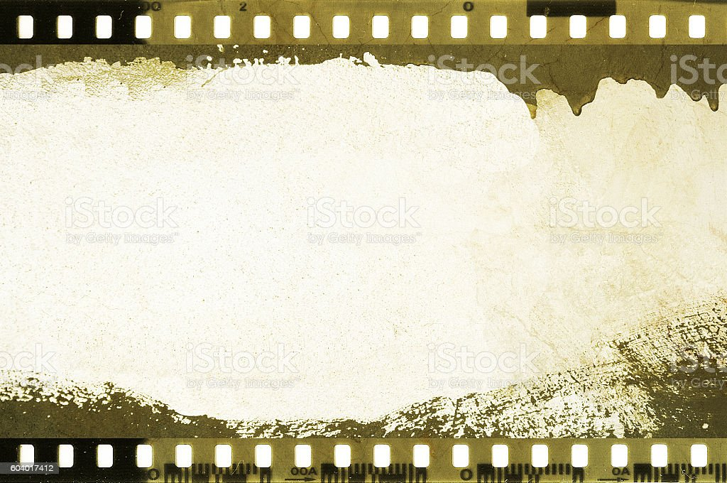 Grunge dripping film strip frame stock photo