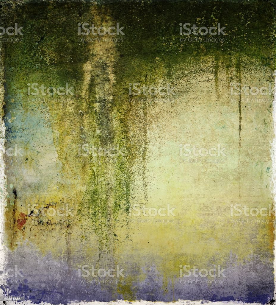 Grunge dripping mossy wall texture background. vector art illustration