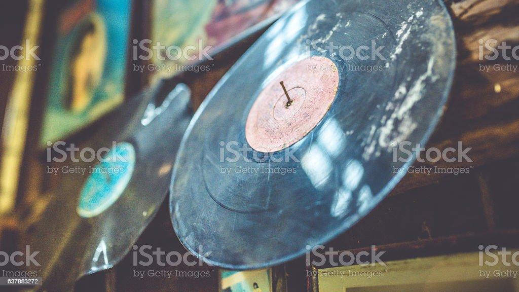 Grunge dust black music discs. stock photo