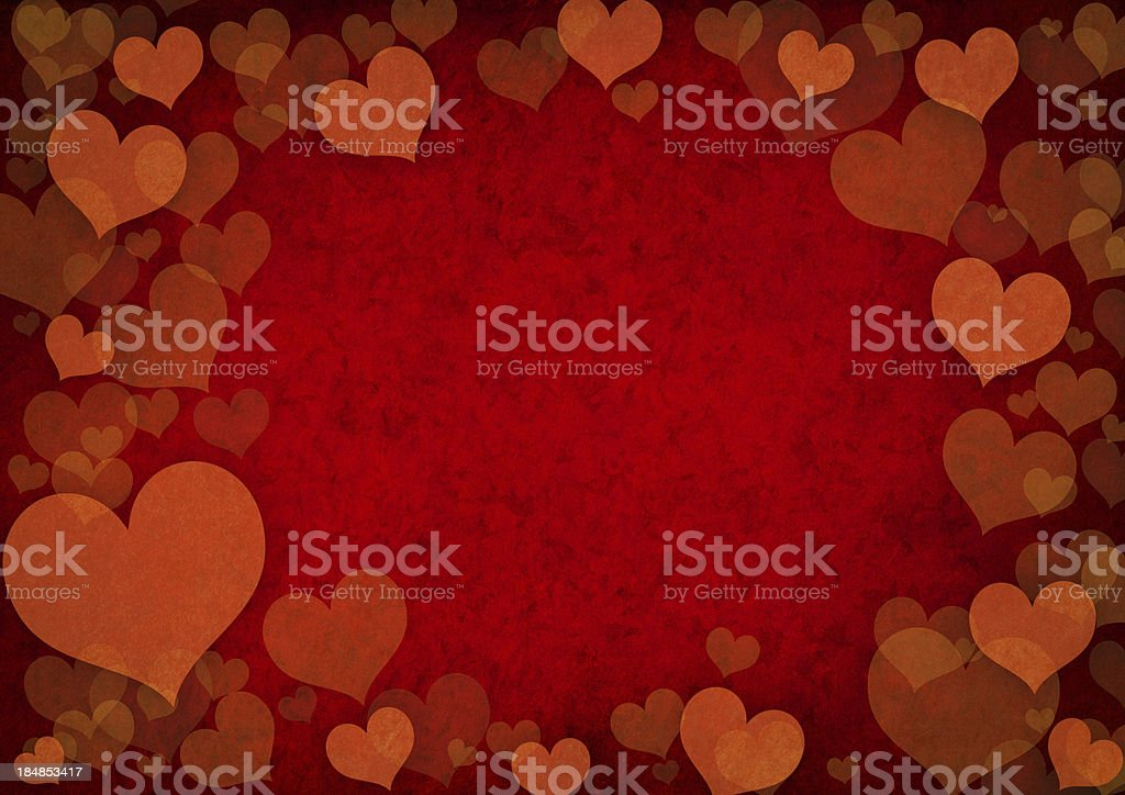 Grunge effect background of red heart shapes royalty-free stock photo