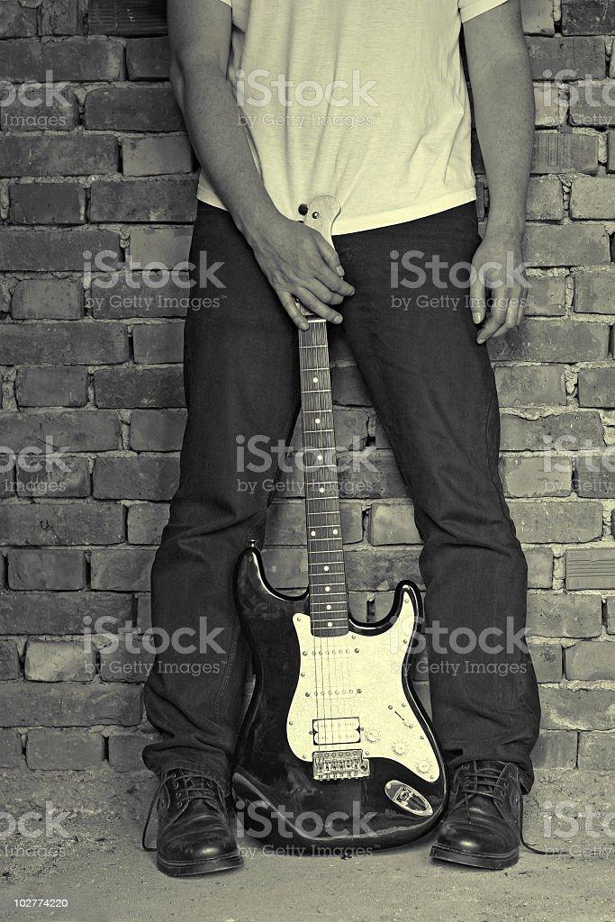grunge electric guitar royalty-free stock photo