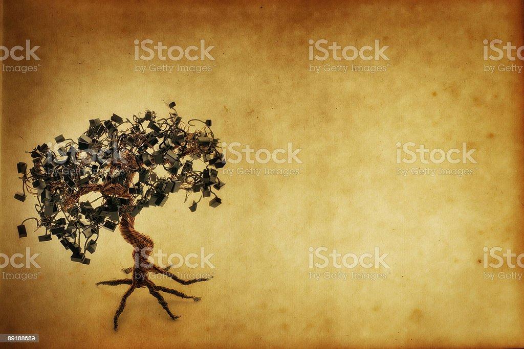 Grunge Electronic Bonsai Tree Paper royalty-free stock photo