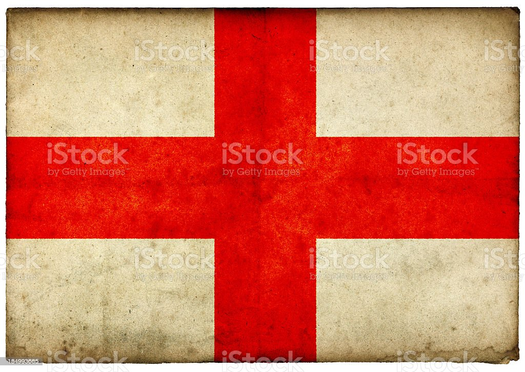 Grunge English Flag on rough edged old postcard stock photo