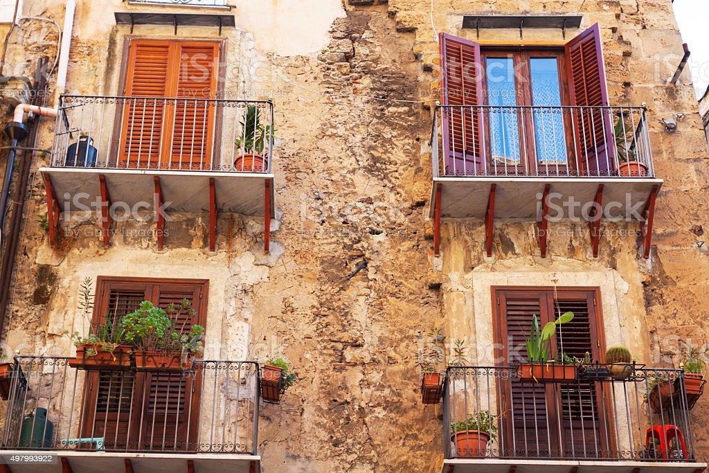 Grunge facade in Palermo stock photo