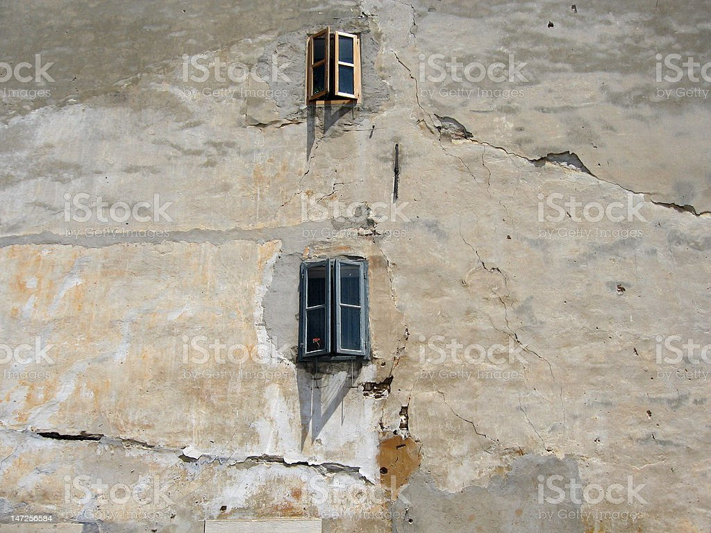 grunge facade with windows royalty-free stock photo