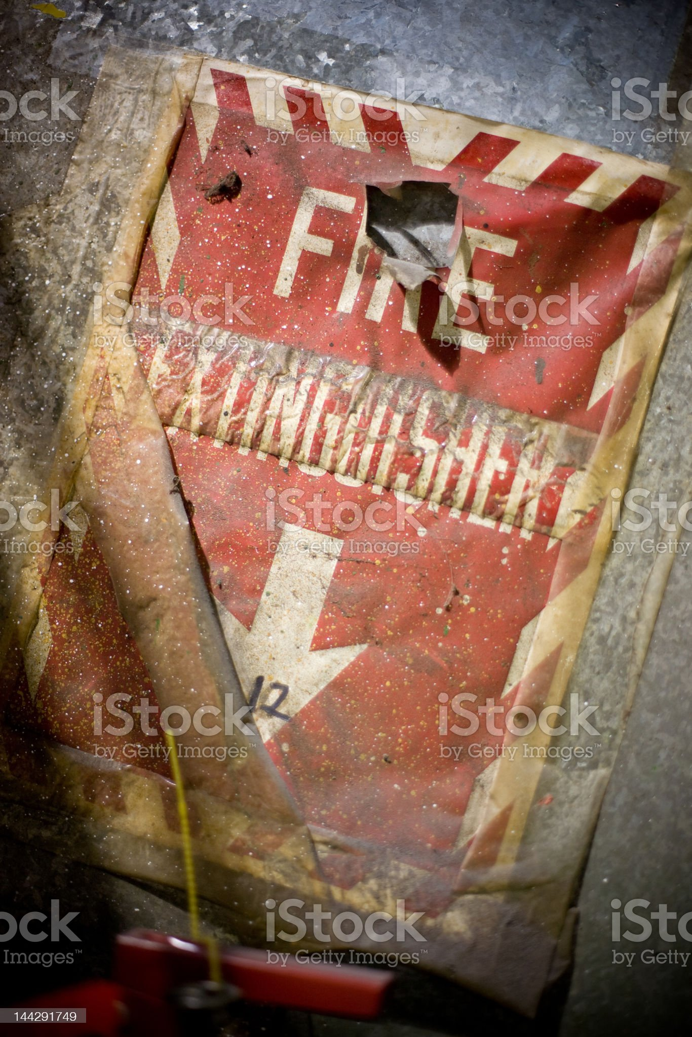 Grunge Fire Extinguisher Sign royalty-free stock photo