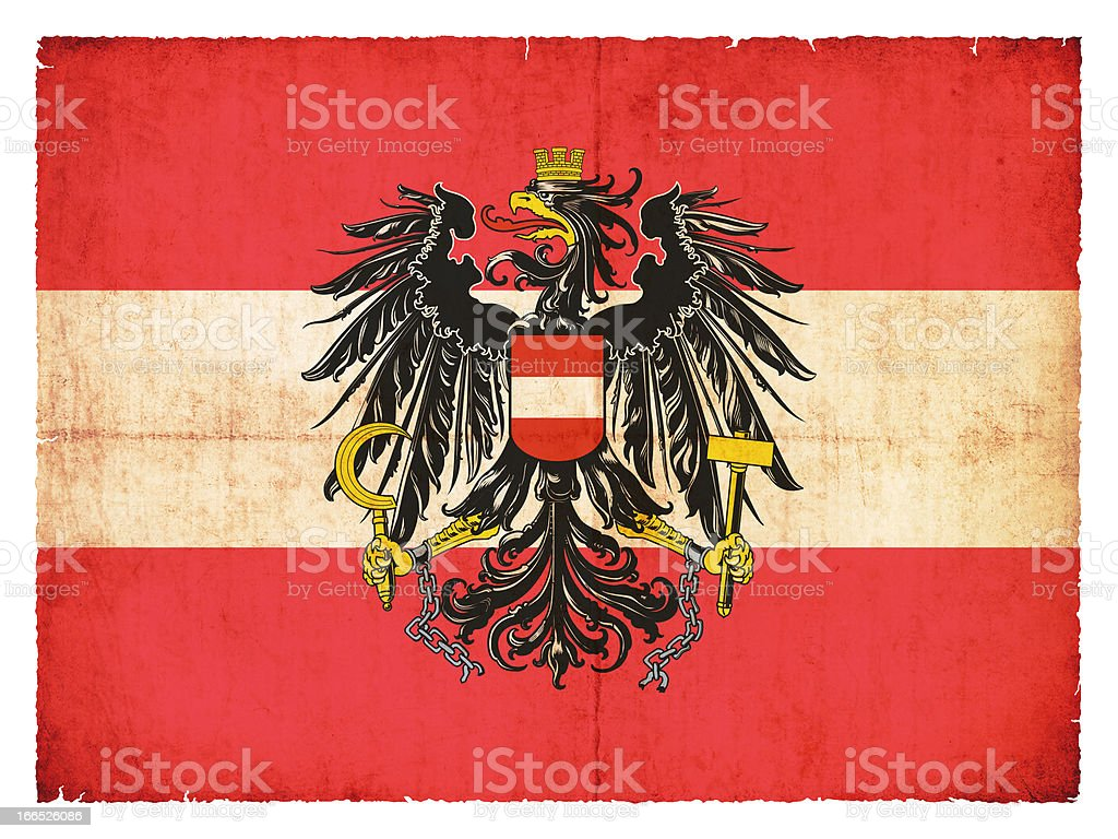 Grunge flag Austria with Coat of Arms stock photo