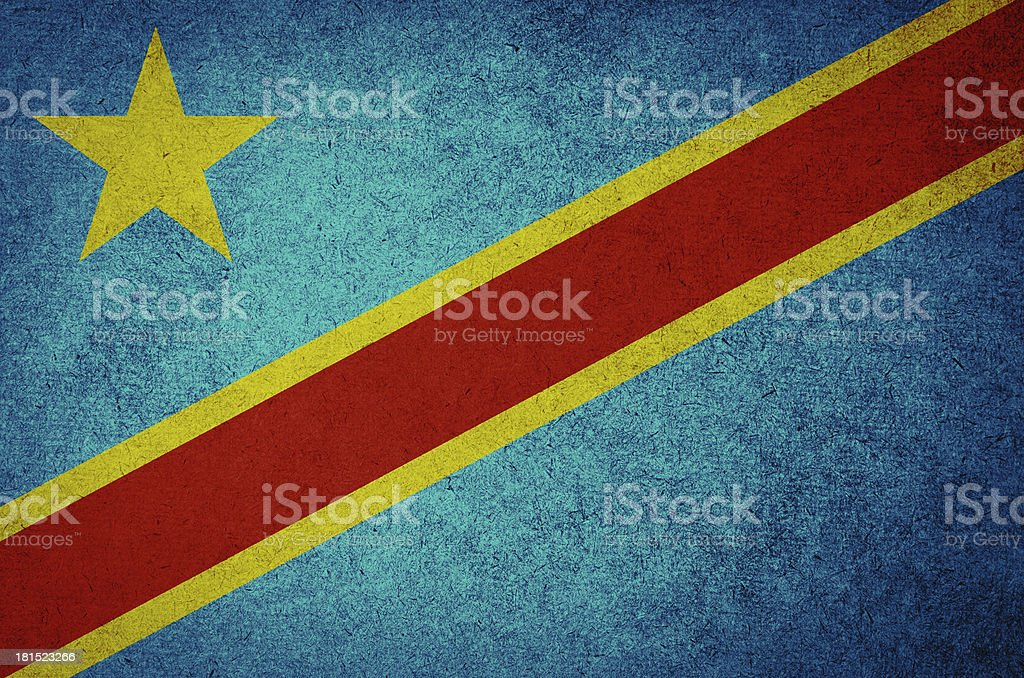 Grunge Flag Democratic Republic  of the Congo stock photo